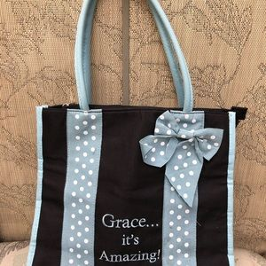 Grace... It's Amazing! Black And Light Blue tote